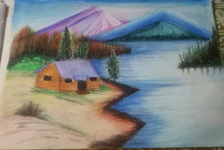 Oil pastel landscape - Bhavna