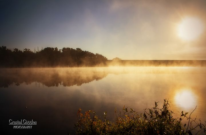 Foggy Sunrise on the Lake - CrystalGigglesPhotography