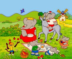 Babar fait un picnic en famille..