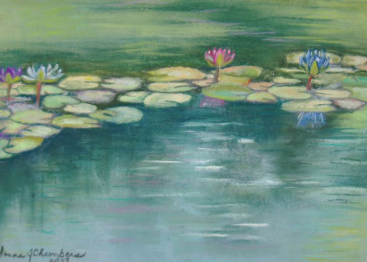 PINK AND BLUE WATERLILIES - D Chambers Art