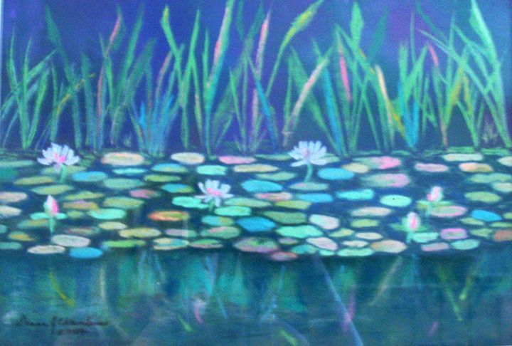WHITE WATERLILIES REFLECTIONS - D Chambers Art