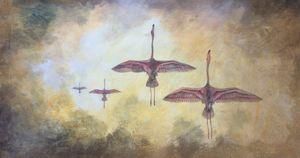 Flamingoes at flight