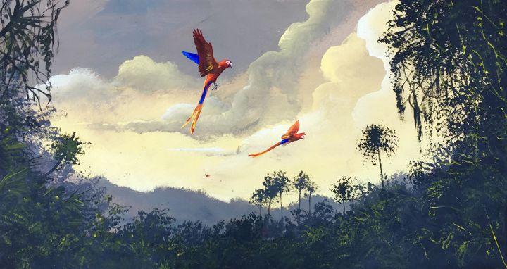 """""""Flying macaws"""". - Rigel Sauri"""