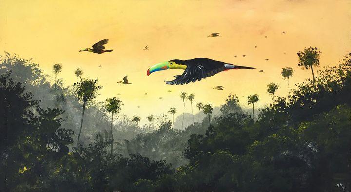 """Toucans flight"". - Rigel Sauri"