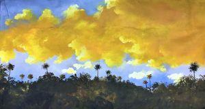 """Tropical landscape at sunset""."