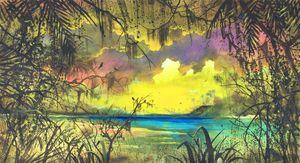 """""""Yucatán beach at sunset with birds"""""""