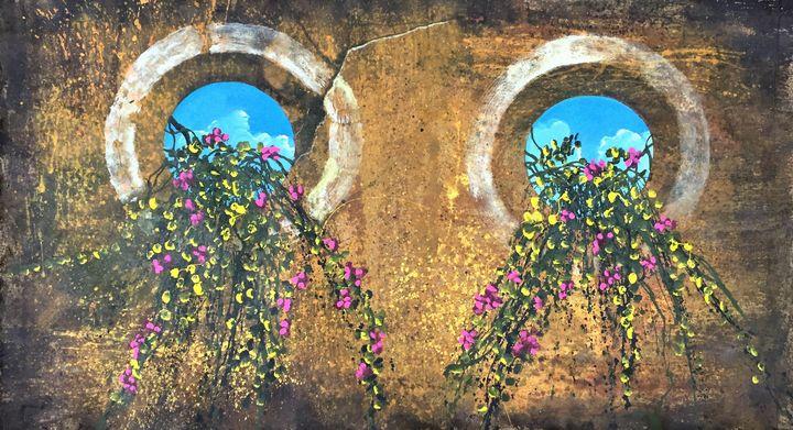 Old Yucatan windows with vines. - Rigel Sauri