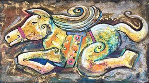 Happy yellow horse.