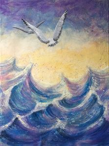 Seascape with flying seagulls at sun
