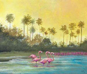 Flamingoes on beach