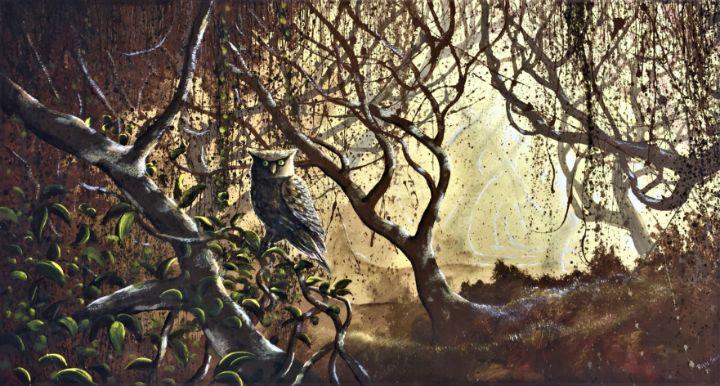 Foggy forest with owl - Rigel Sauri