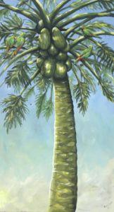 Papaya tree with parrots