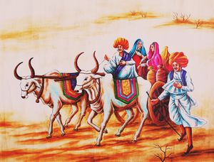 Villagers Riding on Bullock-cart