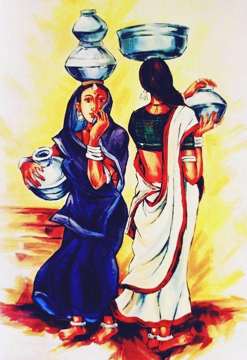 Women carrying pots full of water - Deepak Arts