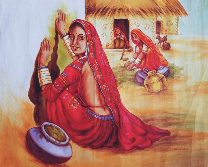 Women grooming the huts - Deepak Arts