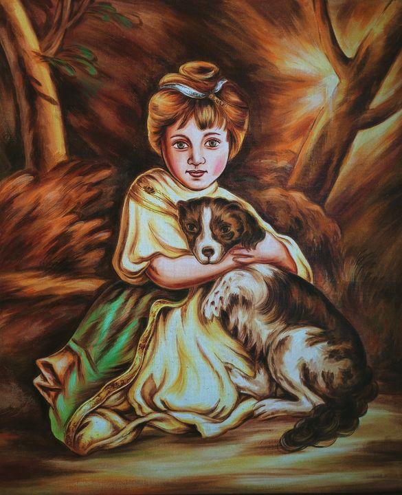 A cute little girl with a dog - Deepak Arts