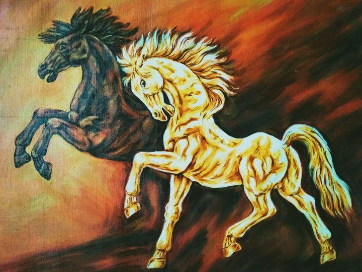 Black & White Horse - Deepak Arts