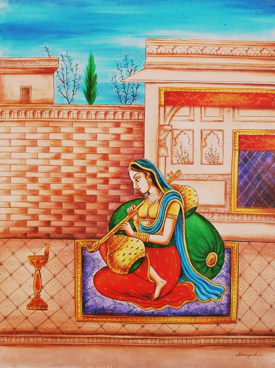 Lady playing the String Instrument - Deepak Arts