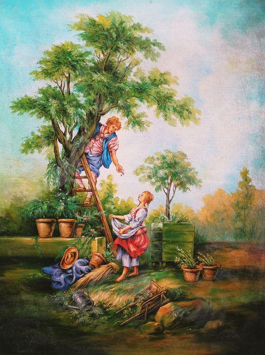 Boy plucking fruits from tree scene - Deepak Arts