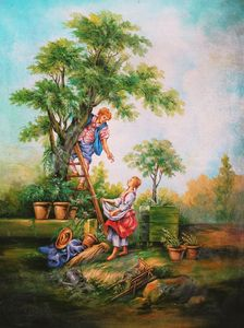 Boy plucking fruits from tree scene
