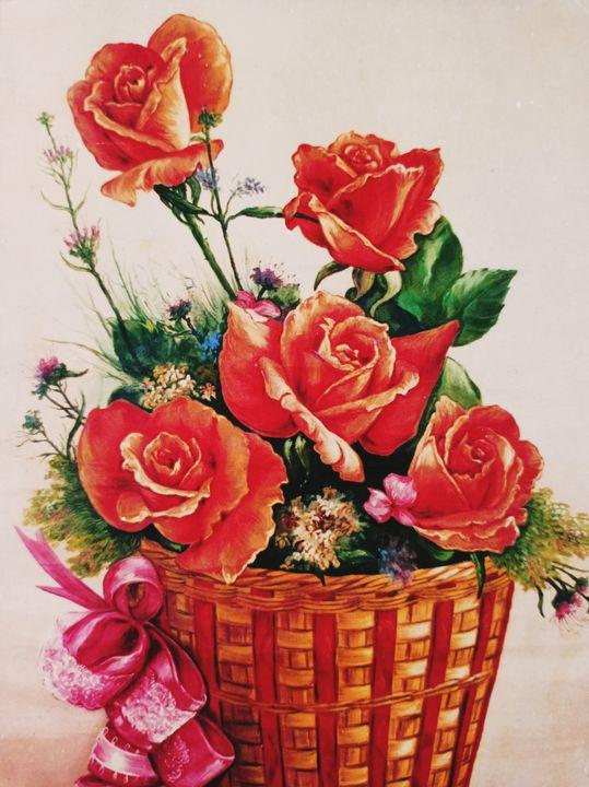 Roses In Basket - Deepak Arts
