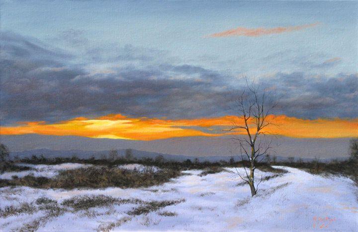 Coucher de soleil sur la neige - Michel De Ruyck