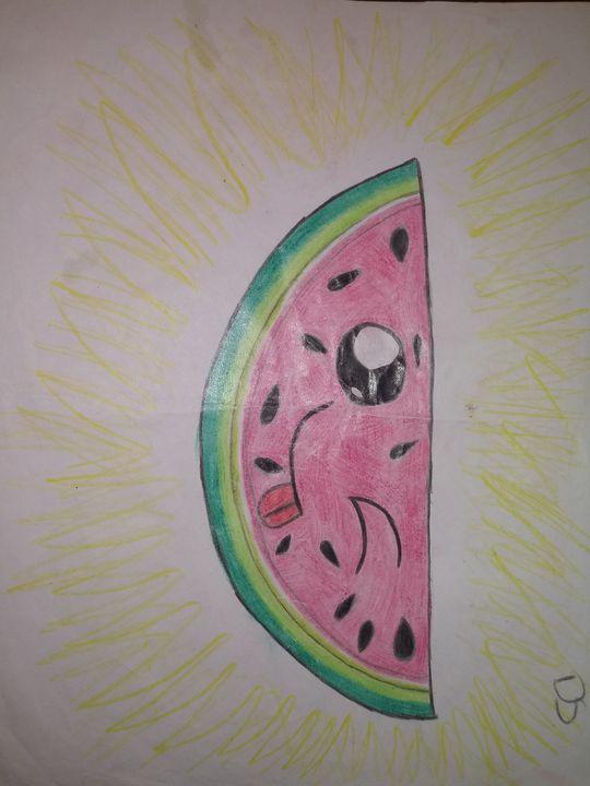 Winking watermelon - Art by dawn