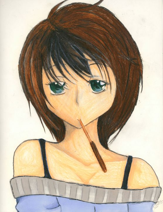 Girl with a Pocky stick - Drawing Central