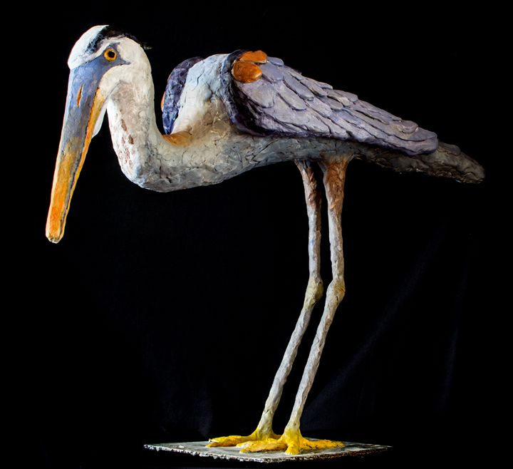 Blue Heron fishing - Isabelle Johnston Art