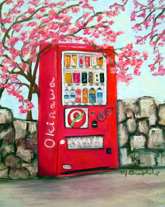 Vending Machine with Cherry Blossoms - Mary Breshike's Art