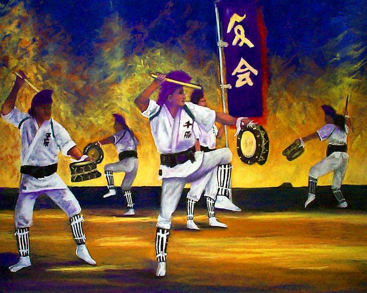 Men Eisa Dancers - Mary Breshike's Art