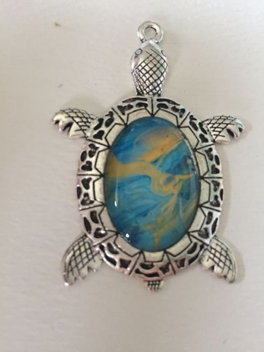Blue and Gold Sea Turtle - Mary Breshike's Art