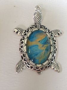 Blue and Gold Sea Turtle