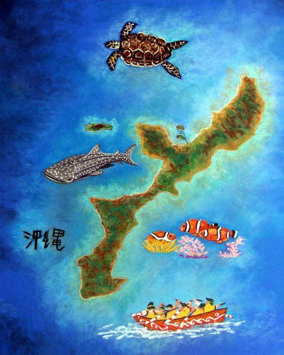 Island with ocean life - Mary Breshike's Art
