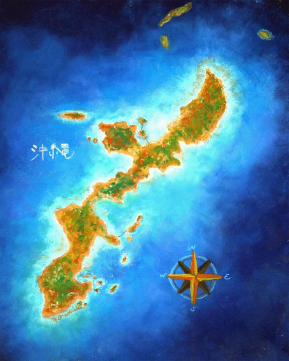Okinawa with the Compass Rose - Mary Breshike's Art