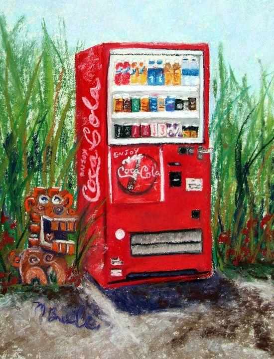 Red Vending Machine with shisa - Mary Breshike's Art