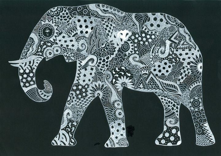 White Ink Elephant - Tinker Art