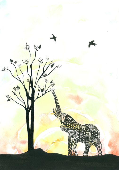 Elephant pattern silhouette - Tinker Art