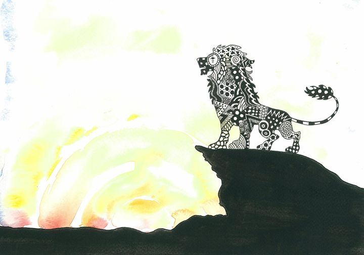 Lion patterned silhouette - Tinker Art