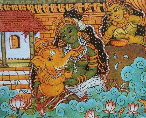 Ganesha and Parvati - Kerala Murals
