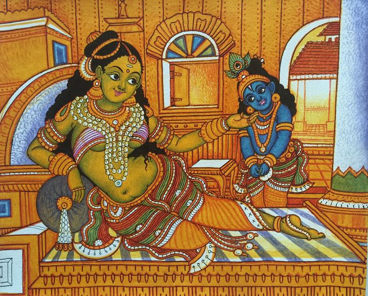 Little Krishna and Yashoda - Kerala Murals