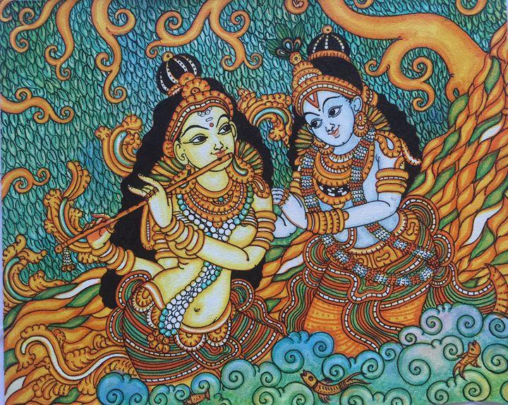 Radha Krishna - Kerala Murals - Paintings & Prints ...  Radha Krishna -...