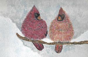 Robins in Winter - Janice Webber Watercolors