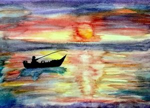 Watercolor Fishing on Boat
