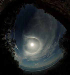 Sun halos above Leman & Alps