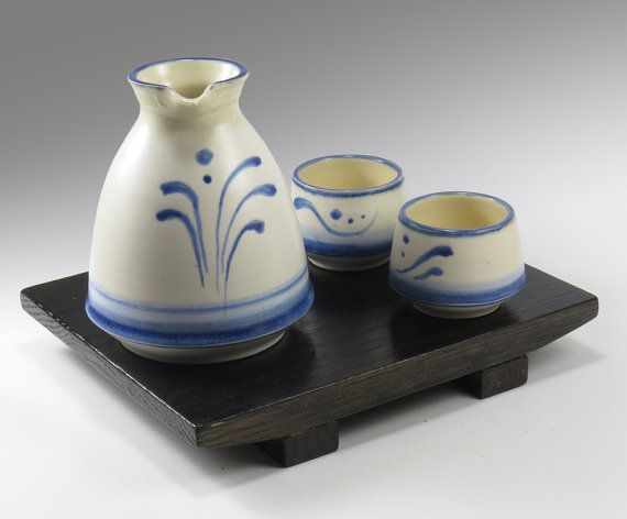 White and Blue Sake Set - NelaCeramics Gallery