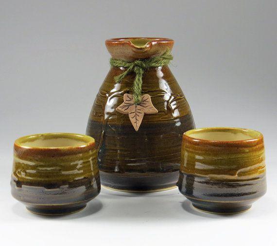 Rustic Brown Sake Set - NelaCeramics Gallery