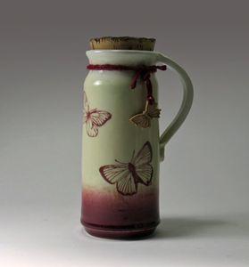 Red Butterfly Travel Mug - NelaCeramics Gallery