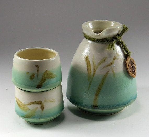 Sage Green Sake Set for Two - NelaCeramics Gallery
