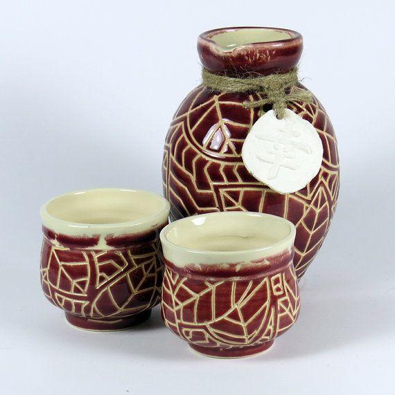 Engraved Red Sake Set for Two - NelaCeramics Gallery